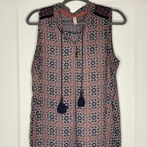 Xhilaration Navy Sleeveless Boho Blouse